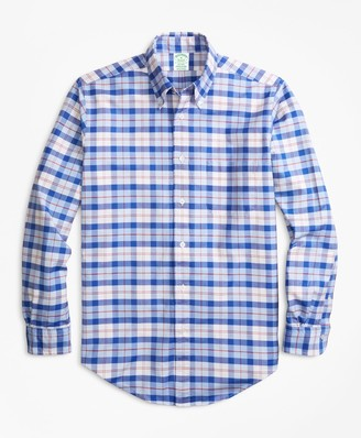 Brooks Brothers Milano Fit Oxford Blue and Red Plaid Sport Shirt