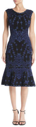 Herve Leger Sleeveless Round-Neck Damask-Jacquard Cocktail Dress