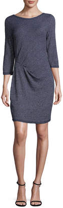 Three Dots Pleated Crewneck Dress