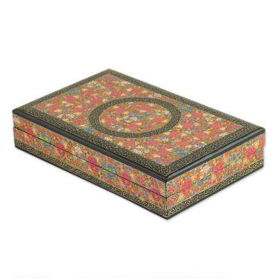Kashmir Valley of Flowers Hand Painted Decorative Velvet Lined Wood Box from India