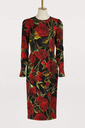 Dolce & Gabbana Red Roses print silk dress
