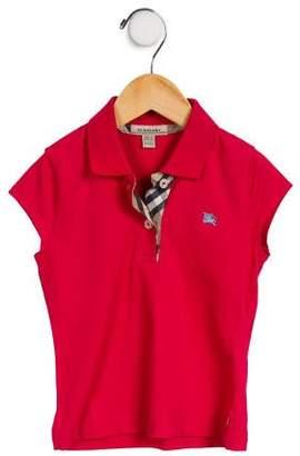 Burberry Girls' Polo Cap Sleeve Top