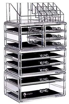 clear Cq acrylic Large 9 Tier Acrylic Cosmetic Makeup Storage Cube Organizer with 10 Drawers. It Consists of 4 Separate Organizers