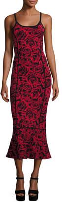 Michael Kors Floral Jacquard Sleeveless Trumpet Dress, Red/Black