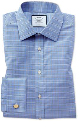 Charles Tyrwhitt Slim Fit Non-Iron Blue and Gold Prince Of Wales Check Cotton Formal Shirt Single Cuff Size 14.5/32