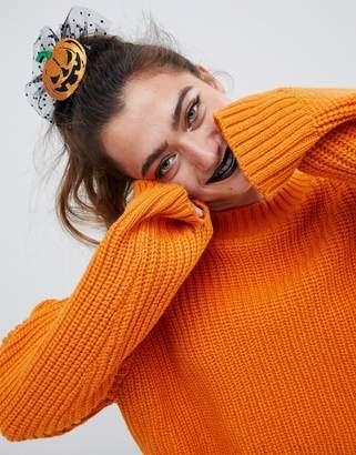 Asos DESIGN HALLOWEEN hair clip with pumpkin and spotty mesh