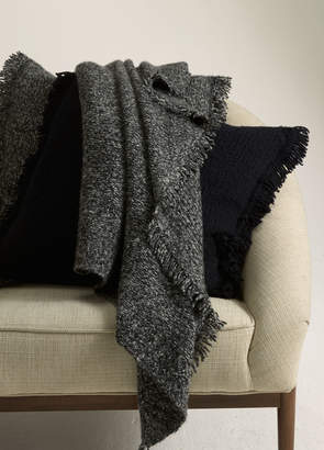 Vince Fringed Ribbed Wool and Cashmere Blanket