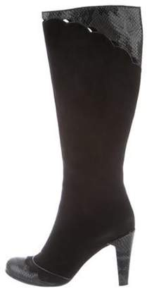 Marc Jacobs Suede & Snakeskin Knee-High Boots Black Suede & Snakeskin Knee-High Boots