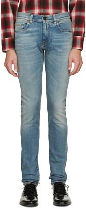 Saint Laurent Blue Original Low Waisted Skinny Jeans $690 thestylecure.com
