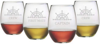 Susquehanna Glass Set Of Four Captain's Collection 21Oz Stemless Glasses