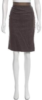 Pringle Herringbone Knee-Length Skirt Brown Herringbone Knee-Length Skirt