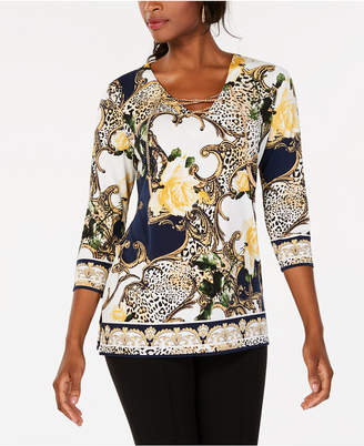 JM Collection Printed Chain Lace Up Tunic, Created for Macy's