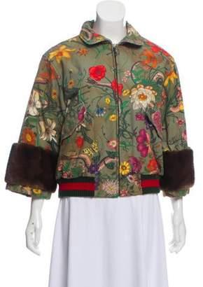 Gucci Flora Snake Mink-Trimmed Jacket Olive Flora Snake Mink-Trimmed Jacket