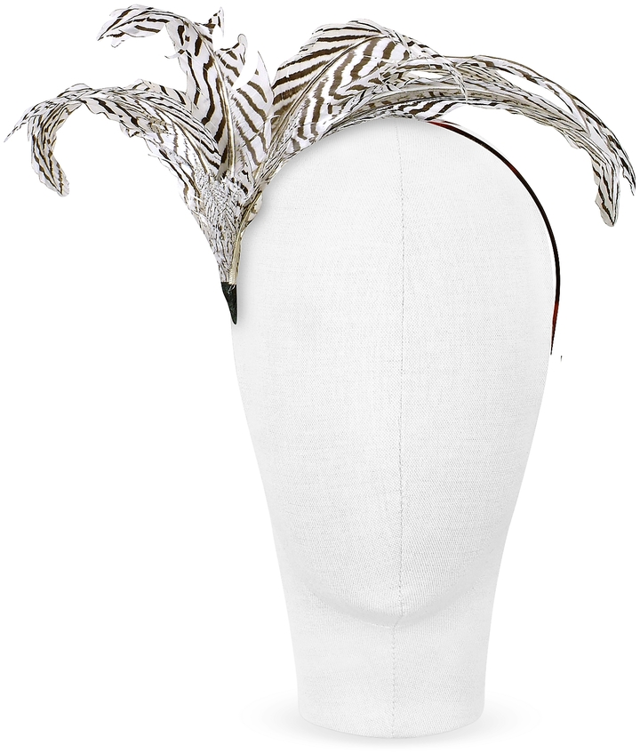 Nana' Beverly - Black and White Feather Flower Headband