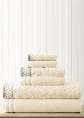 Amrapur Overseas Embellished Border Damask Jacquard Towel 6-Piece Set - Ivory