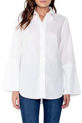 Parker Smith Button-Front Split-Sleeve Blouse with Shirttail Hem