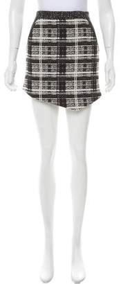 Marissa Webb Leather-Trimmed Plaid Skirt
