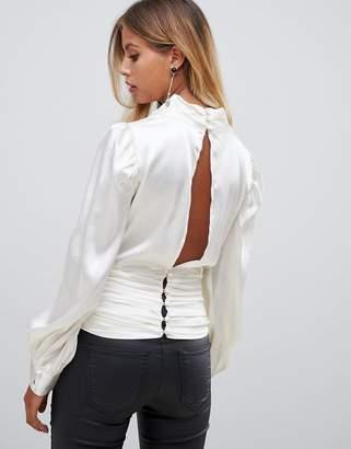 Asos Design DESIGN long sleeve satin cowl neck top with gathered waist
