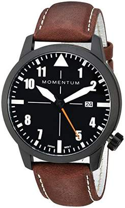 Momentum Men's 'Fieldwalker Automatic' Mechanical Hand Wind Stainless Steel and Leather Casual Watch