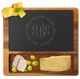 Generic Custom Christmas Monogram Square Cheese Slate Board