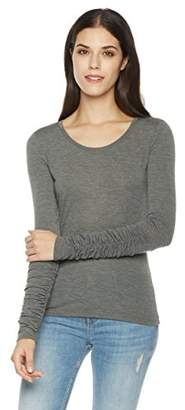 Painted Heart Women's Long Sleeve with Shirring Cuffs Knit Fitted Scoop Neck Tee