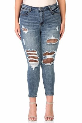 Cello Women's Plus Mid Rise Destructed Crop Skinny with Fishnet Detail
