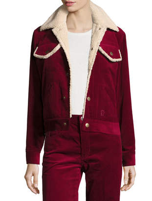 Marc Jacobs Cropped Corduroy Jacket with Faux-Fur Lining
