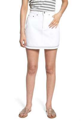 The Fifth Label Social Fray Hem Denim Miniskirt