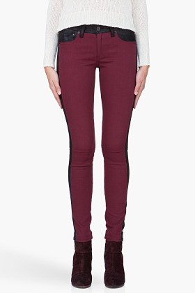 RAG & BONE Burgundy Combo Leather Back Jeans