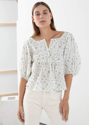And other stories Floral Cotton Puff Sleeve Blouse