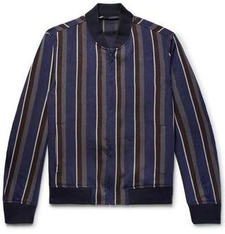 Todd Snyder Barre Stripe Bomber in Navy