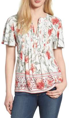 Lucky Brand Flutter Sleeve Lace Mix Top