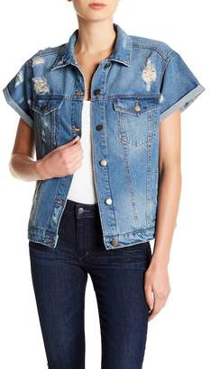 SP Black Cuffed Short Sleeve Distressed Denim Jacket