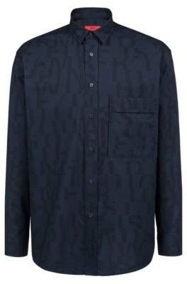 HUGO Boss Relaxed-fit cotton shirt abstract slogan L Dark Blue