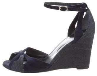 Vanessa Seward Denim Ankle Strap Wedges