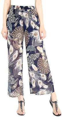 FEOYA Womens Wide Leg Pants Palazzo Pants Comfy Lightweight Long Pants Elastic High Waist Pants Breathable Printing Trousers Small
