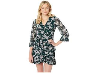1 STATE 1.STATE Long Sleeve Wrap Front Forest Delicate Dress