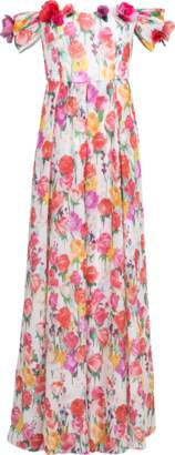 Blumarine Off Shoulder Floral Gown
