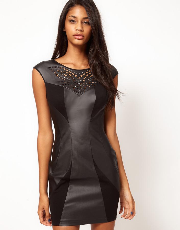 Lipsy PU Trim Body-Conscious Dress