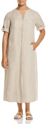 Marina Rinaldi Decisivo Flax Maxi Shirt Dress $555 thestylecure.com