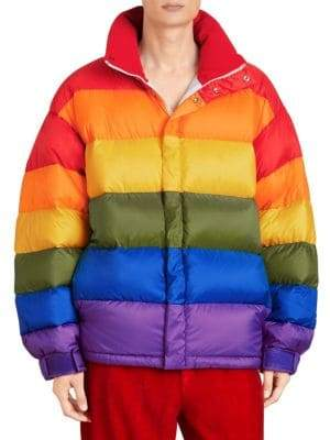 Burberry Rainbow Colorblock Down Puffer Coat