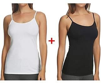 Maidenform 2PK Stretch Cotton Shelf Bra Cami Set size M 6-8 Layering Navy/Heather Grey