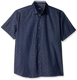 Stone Rose Men's Geometric Denim Printed Short Sleeve Button Down Shirt