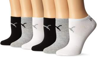 Puma Women's Non Terry No Show Low Cut Athletic Sport Sock 6-Pack,Black w/White,9-11