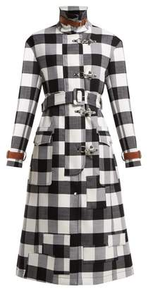 Altuzarra Agrippina Checked Belted Wool Blend Coat - Womens - Black White