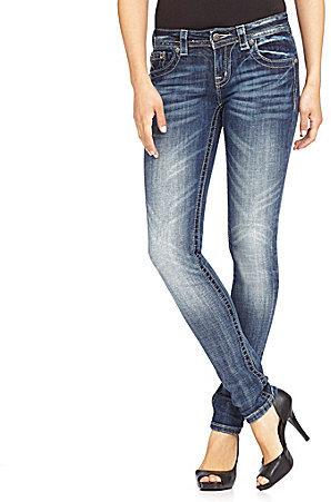Miss Me Cross-Pocket Mid-Rise Skinny Jeans