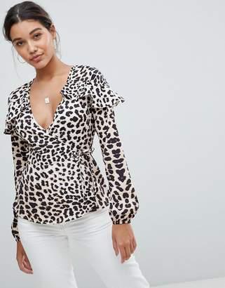 Missguided Leopard Print Wrap Blouse