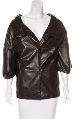 Marni Leather Three-Quarter Sleeve Jacket