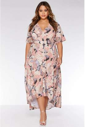 Quiz Curve Nude and Pink Abstract Print Dress