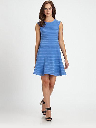 Halston Grosgrain-Stripe Cap-Sleeve Dress